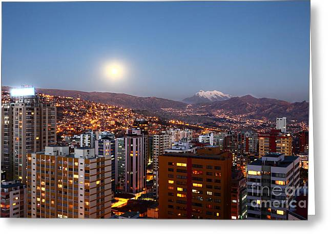 La Paz Greeting Cards - Full Moon Rising Over La Paz Greeting Card by James Brunker