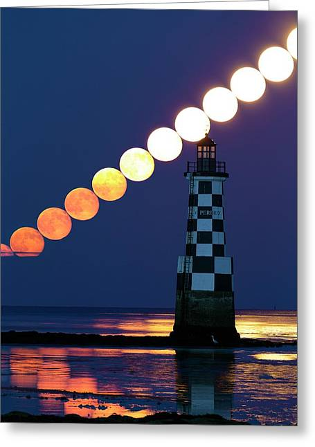 Full Moon Rising Over Lighthouse Greeting Card by Laurent Laveder