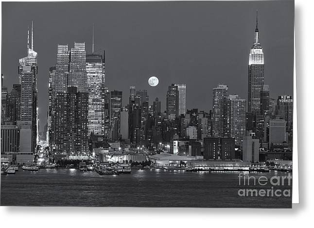 Nast Greeting Cards - Full Moon Rising Over New York City III Greeting Card by Clarence Holmes