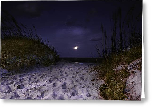 Sea Moon Full Moon Greeting Cards - Full Moon Rising Over North Carolina Coast  Greeting Card by Gray  Artus