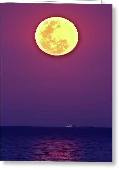 Full Moon Rising Over The Sea Greeting Card by Luis Argerich