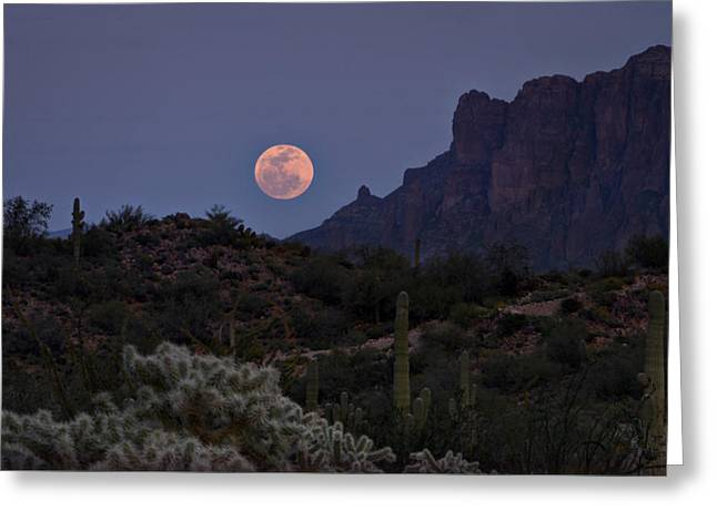 The Superstitions Greeting Cards - Full Moon Rising  Greeting Card by Saija  Lehtonen