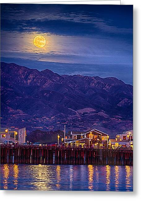 Stearns Wharf Greeting Cards - Full Moon Rising Greeting Card by Shauna Milton