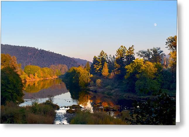 Umpqua River Greeting Cards - Full Moon Sunset Over The Umpqua Greeting Card by Michele  Avanti