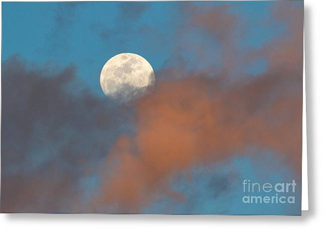 Moon Greeting Cards - Full Moon Through The Sunset Clouds Greeting Card by Mimi Ditchie