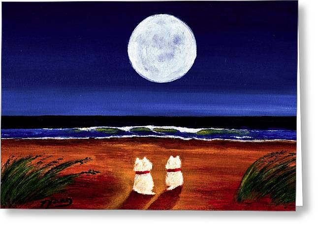 Recently Sold -  - California Beach Art Greeting Cards - Full Moon Greeting Card by Todd Young