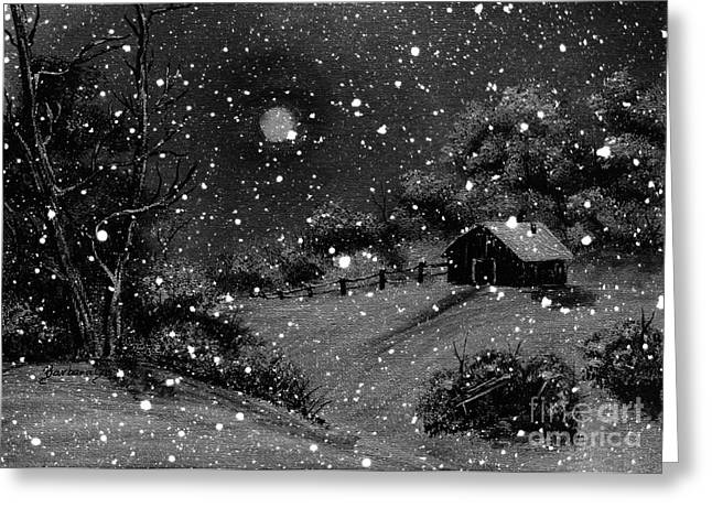 Snow And Night Sky Greeting Cards - Full Moon Winter Night Greeting Card by Barbara Griffin