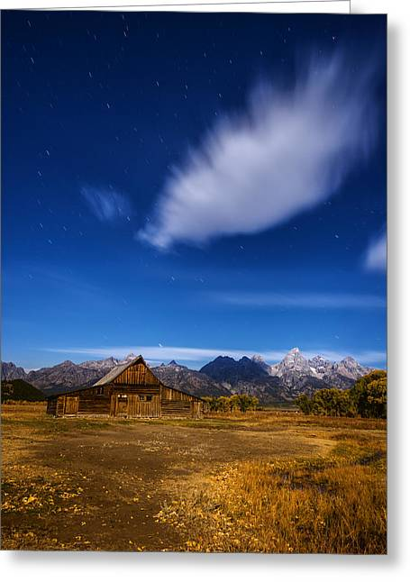 Moonlit Night Greeting Cards - Full Moonlit Mormon Barn at Grand Teton NP Greeting Card by Vishwanath Bhat