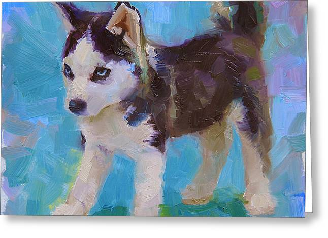 Husky Greeting Cards - Full Of It - Alaskan Husky Sled Dog Puppy Greeting Card by Karen Whitworth