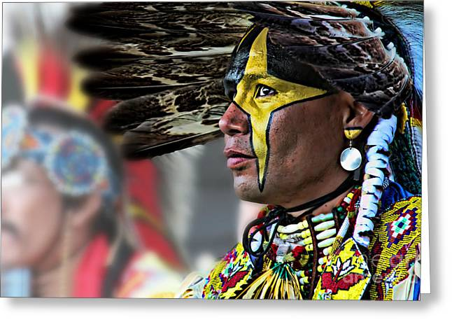 Fancy-dancer Greeting Cards - Full Paint Native Greeting Card by Scarlett Images Photography