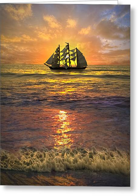 Hobe Sound Greeting Cards - Full Sail Greeting Card by Debra and Dave Vanderlaan