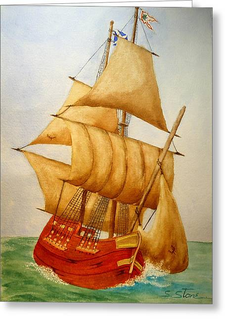 Wooden Ship Paintings Greeting Cards - Full Sails Greeting Card by Sandra Stone