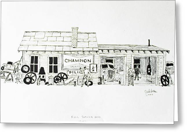 Repaired Drawings Greeting Cards - Full Service Days Greeting Card by Jack G  Brauer