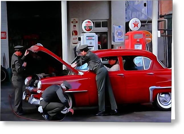 Mechanics Mixed Media Greeting Cards - Full Service Gas Station Greeting Card by Dan Sproul