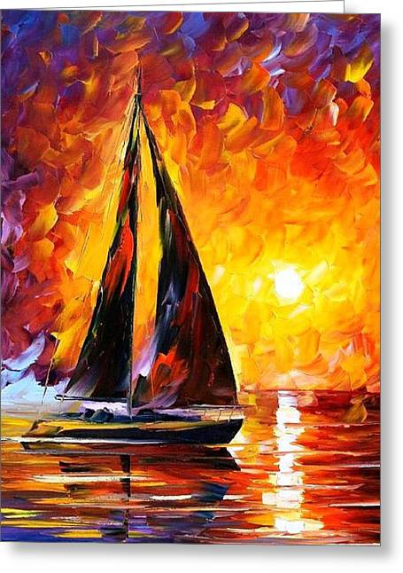 Popular Art Greeting Cards - Full Speed - PALETTE KNIFE Oil Painting On Canvas By Leonid Afremov Greeting Card by Leonid Afremov
