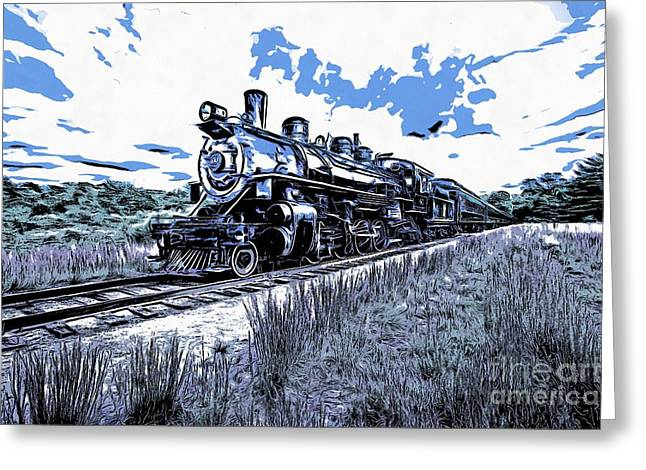 Deep River Greeting Cards - Full Steam through The Meadow Graphic Greeting Card by Edward Fielding
