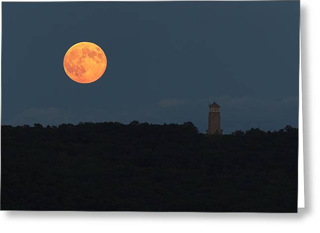 Belchertown Greeting Cards - Full Sturgeon Moon rising over Quabbin Hill Greeting Card by Stephen Gingold