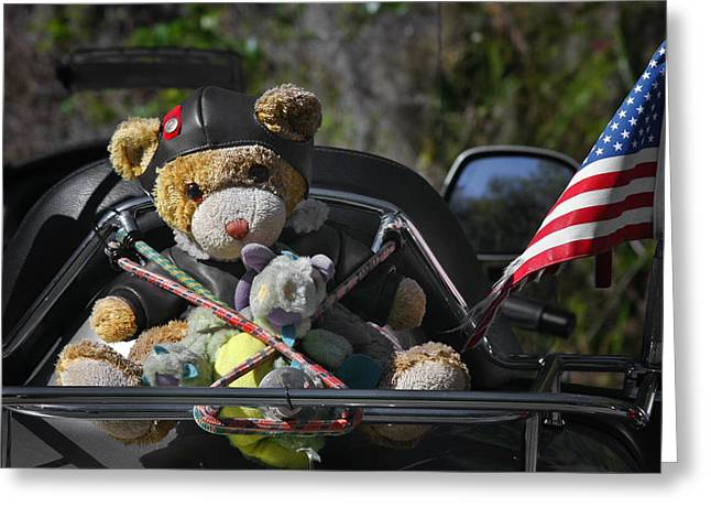 Motor Greeting Cards - Full Throttle Teddy Bear Greeting Card by Christine Till