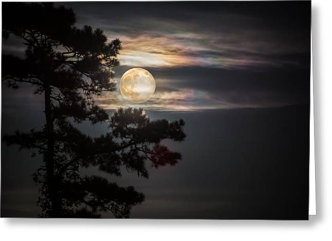 White River Scene Mixed Media Greeting Cards - Fullmoon Horizon Greeting Card by Mark Hazelton