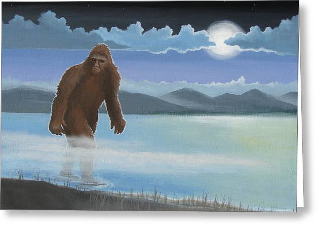 Creepy Paintings Greeting Cards - Fullmoon Squatch Greeting Card by Stuart Swartz
