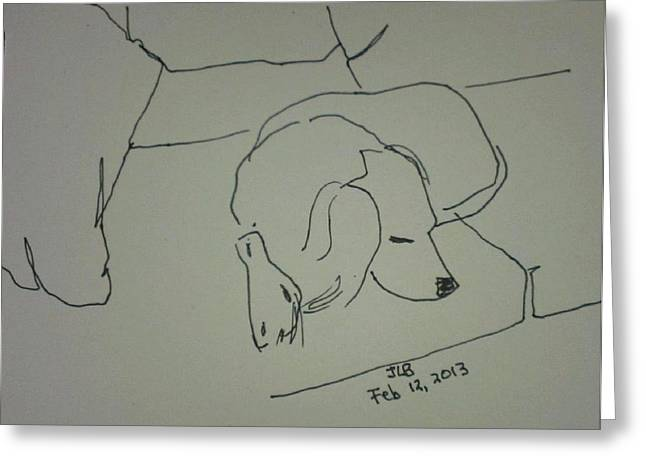Spaniel Drawings Greeting Cards - Fulmi sleeping Greeting Card by Janet Butler