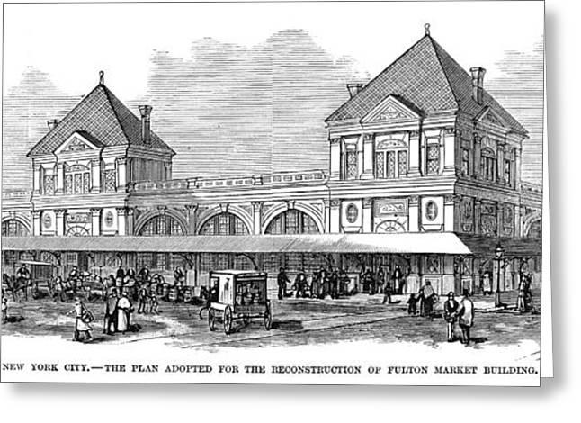 Douglass Greeting Cards - Fulton Fish Market, 1881 Greeting Card by Granger
