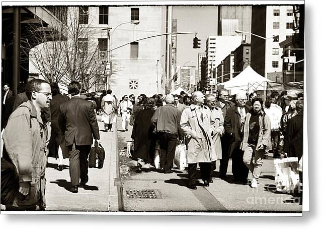 Lunch Time Greeting Cards - Fulton Street 1990s Greeting Card by John Rizzuto