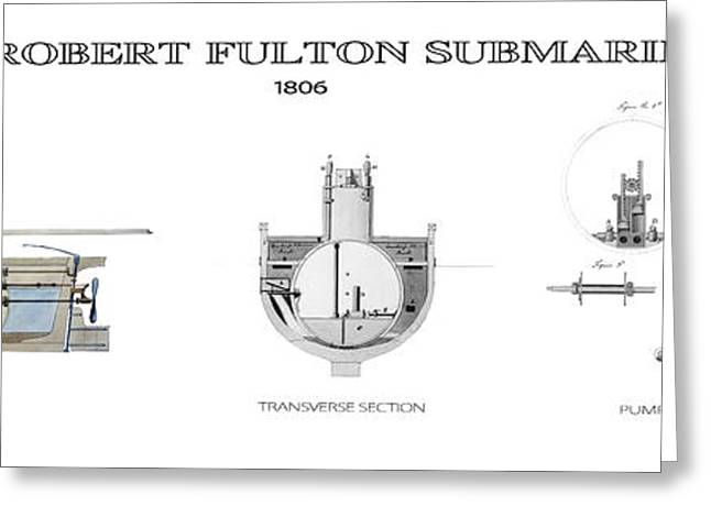 Plunging Greeting Cards - FULTONs SUBMARINE  1806 Greeting Card by Daniel Hagerman