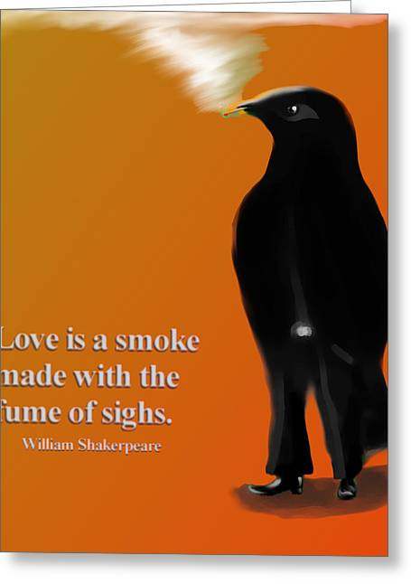 Raven Greeting Cards - Fume of sighs - Williams Shakespeare Greeting Card by Marcello Cicchini