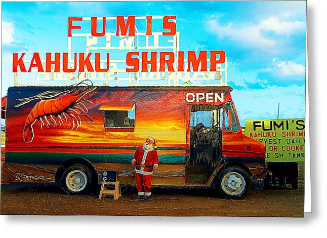 On His Holidays Greeting Cards - Fumis Kahuku Shrimp Greeting Card by Ron Regalado