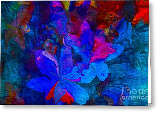 Fun Abstract Flowers In Blue Greeting Card by Sherri  Of Palm Springs