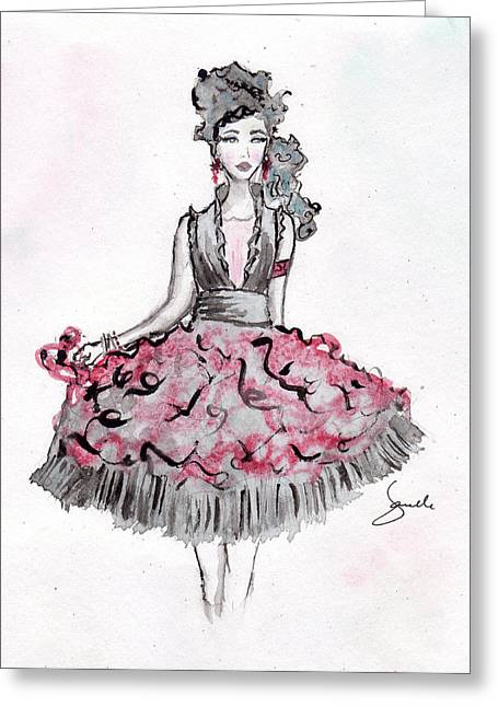 Janelle Nichol Greeting Cards - Red and Black party dress sketch Greeting Card by Janelle Nichol