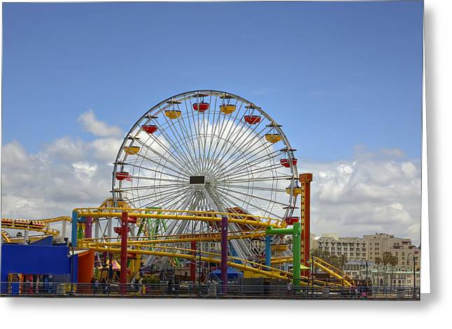Amusements Greeting Cards - Fun at Santa Monica Pier Greeting Card by Kim Hojnacki
