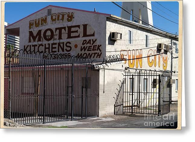 Locations Greeting Cards - Fun City Las Vegas Motel Greeting Card by Edward Fielding