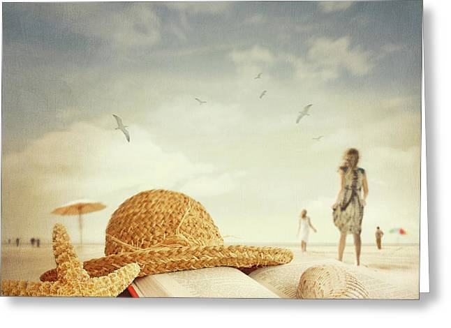 Fun day at the beach Greeting Card by Sandra Cunningham