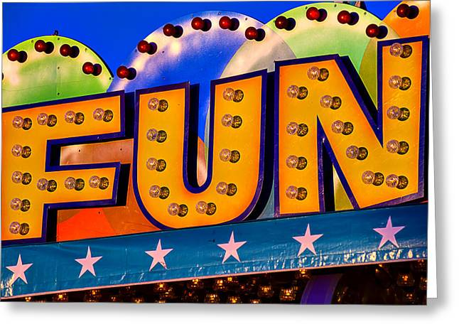 Amusements Greeting Cards - Fun Fair Sign Greeting Card by Garry Gay
