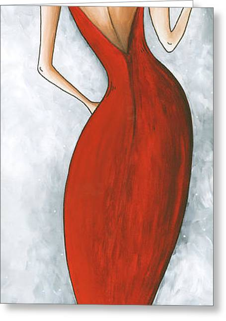 Gray Dress Greeting Cards - Fun Figurative Fashion PoP Art Lady in Red 2 by Megan Duncanson Greeting Card by Megan Duncanson