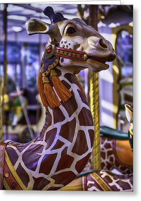 Amusements Greeting Cards - Fun Giraffe Carousel Ride Greeting Card by Garry Gay