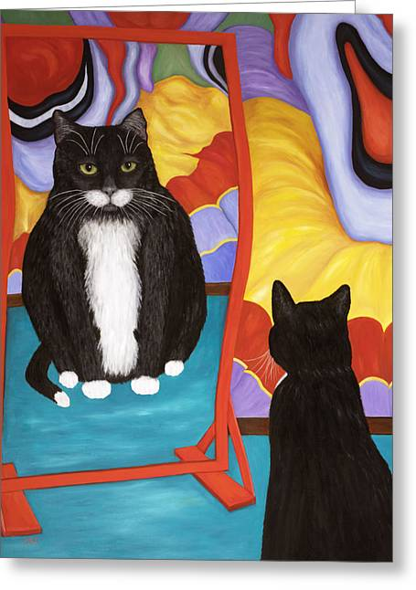 House Pet Greeting Cards - Fun House Fat Cat Greeting Card by Karen Zuk Rosenblatt