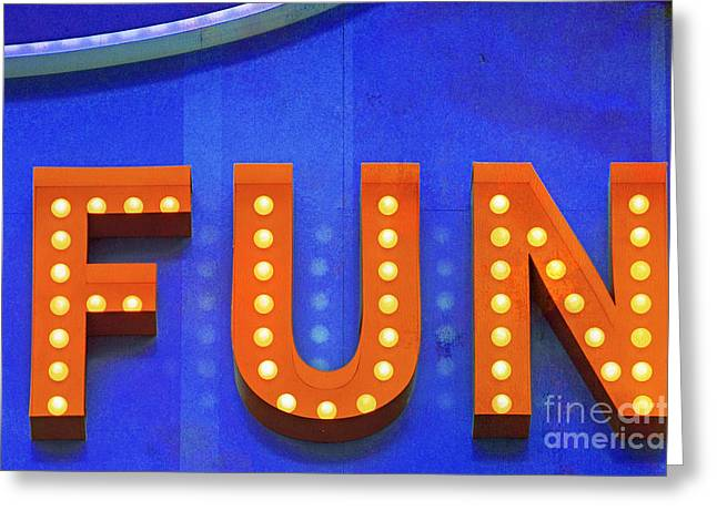 Amusements Mixed Media Greeting Cards - Fun in Lights Typography Greeting Card by AdSpice Studios