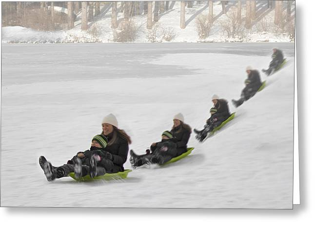 Sledge Greeting Cards - Fun In The Snow Greeting Card by Susan Candelario