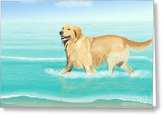 Lucky Dogs Greeting Cards - Fun in the Sun Greeting Card by Jacqueline Barden