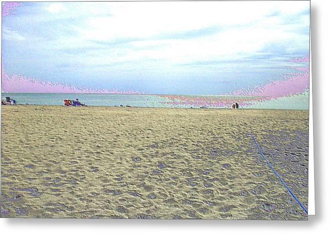 Volley Mixed Media Greeting Cards - Fun on Beach in Enamel Greeting Card by Skyler Tipton