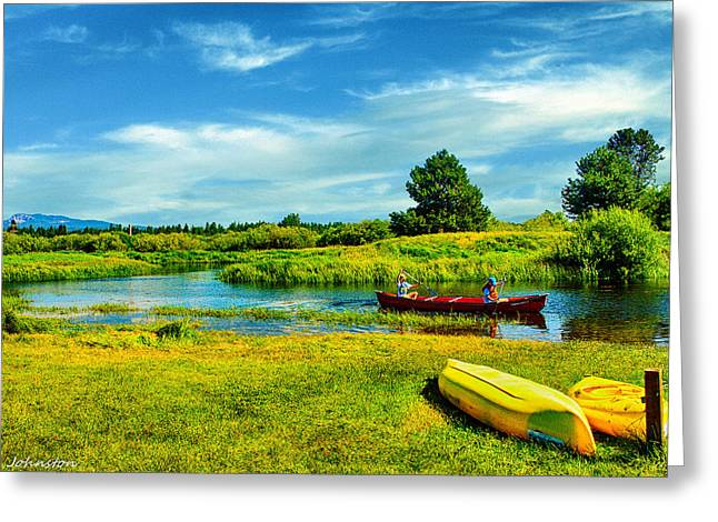 Canoe Greeting Cards - Fun On DeSchutes River Oregon Greeting Card by  Bob and Nadine Johnston