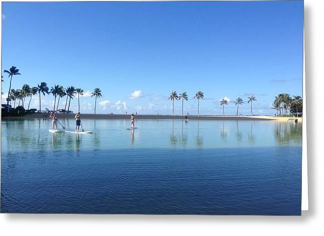 Hawaii Pyrography Greeting Cards - Fun on the Lagoon Greeting Card by Linda Smith