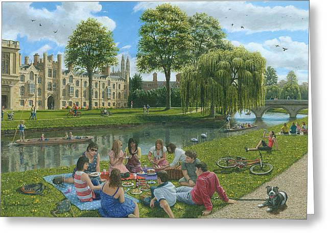 Punting Greeting Cards - Fun on the River Cam Cambridge Greeting Card by Richard Harpum