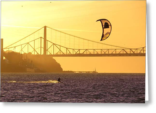 Kite Surfing Greeting Cards - Fun on the Water Greeting Card by Brian Maloney