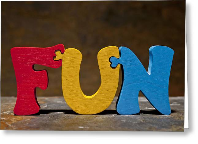 Satisfaction Greeting Cards - Fun Puzzle Painted Wood Letters Greeting Card by Donald  Erickson