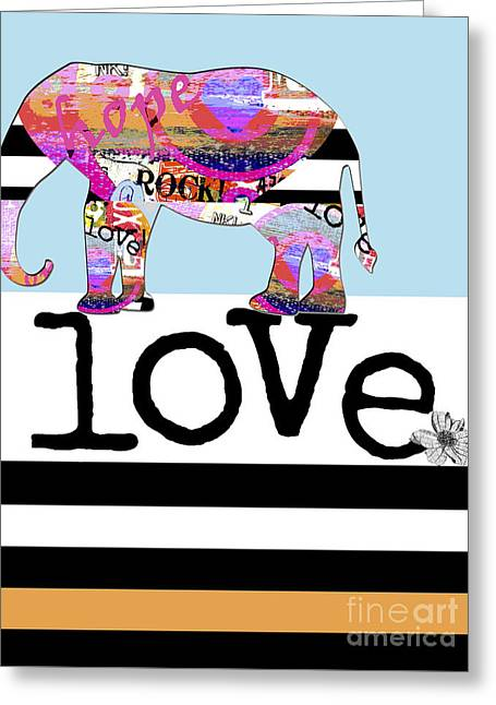 Whimsical Mixed Media Greeting Cards - Fun Rock and Roll Elephant Greeting Card by Anahi DeCanio