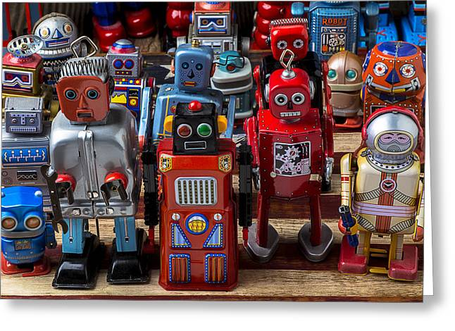 Gathering Photographs Greeting Cards - Fun toy robots Greeting Card by Garry Gay